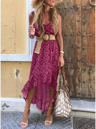 Print Sleeveless A-line Asymmetrical Casual/Vacation Skater Dresses