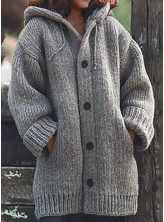 Solid Chunky knit Hooded Cardigan