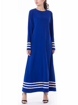 Kolor-block Okrągły Dekolt Maxi Sukienkę przesunąć