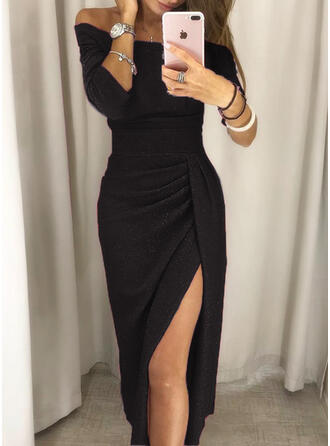 Solid 3/4 Sleeves Sheath Sexy/Party Midi Dresses (199244561)