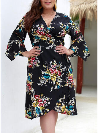 Print/Floral 3/4 Sleeves/Flare Sleeves A-line Knee Length Casual/Elegant/Plus Size Dresses