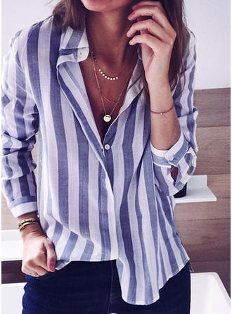 Striped V Neck Long Sleeves Button Up Casual Shirt Blouses