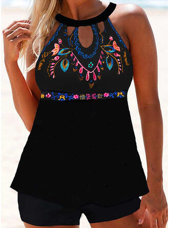 Print Round Neck High Neck Fresh Tankinis Swimsuits