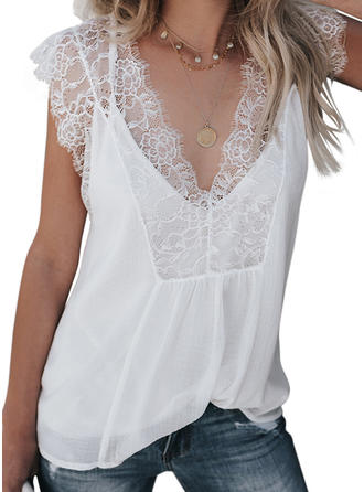 Solid V Neck Sleeveless Casual Elegant Blouses