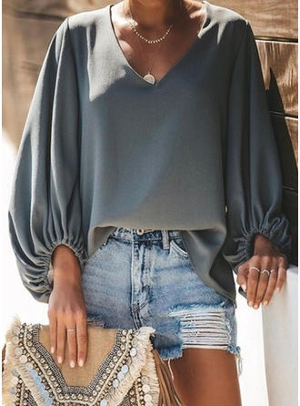 Solid V-Neck Puff Sleeves Long Sleeves Casual Knit T-shirts