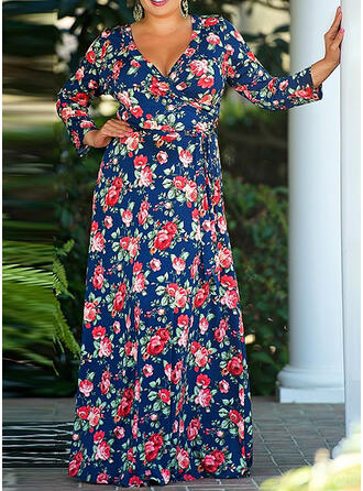Print/Floral Long Sleeves A-line Casual/Elegant/Plus Size Maxi Dresses