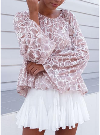 Lace Round Neck Print Long Sleeves Casual Blouses