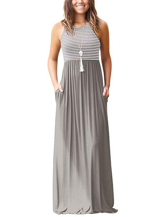 Striped Round Neck Maxi A-line Dress