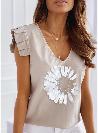 Print Floral V-Neck Sleeveless Casual T-shirts