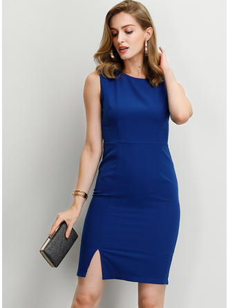 Solid Sleeveless Bodycon Above Knee Party/Elegant Dresses