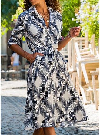 Print Long Sleeves A-line Casual Midi Dresses