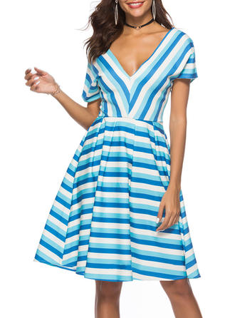 Striped V-neck Knee Length A-line Dress