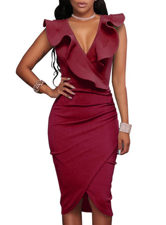 Solid V-neck Knee Length Sheath Dress
