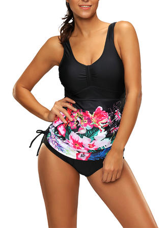 Floral Strap Beautiful Plus Size Tankinis Swimsuits