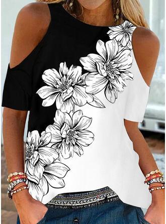 Colorido Floral Estampado Ombro Frio Manga Curta Camisetas