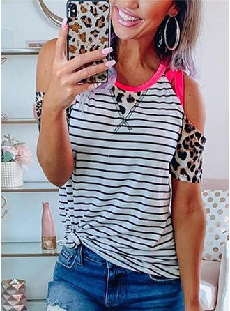 Color Block Animal Print Striped Cold Shoulder Short Sleeves Casual T-shirts
