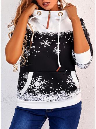 Різдво Εκτύπωση snowflake Μακρυμάνικο Толстовка з капюшоном