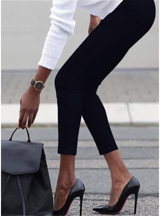 Solid Plus Size Casual Sexy Skinny Pants