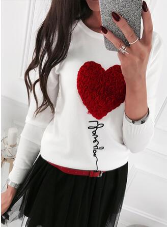 Impresión Corazón Cuello Redondo Casuales Suéteres