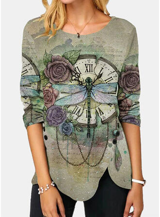 Floral Animal Print Round Neck Long Sleeves Casual Blouses