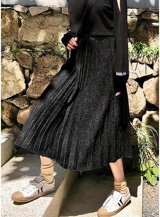 de lana Color sólido Midi Faldas Plisadas