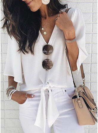 Solid V-Neck Flare Sleeve 1/2 Sleeves Casual Blouses