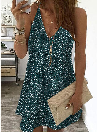 Print/PolkaDot Sleeveless Shift Above Knee Casual Dresses