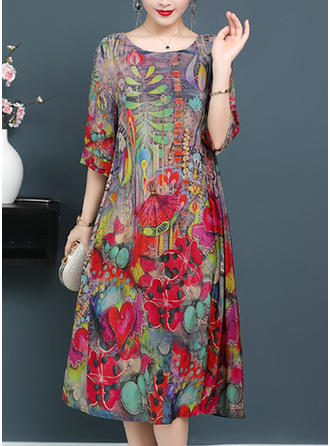 Floral Round Neck Midi Shift Dress