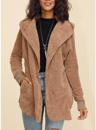 Polyester Long Sleeves Plain Wide-Waisted Coats Faux Fur Coats