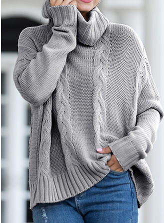 Solid Cable-knit Chunky knit Cowl Neck Sweaters