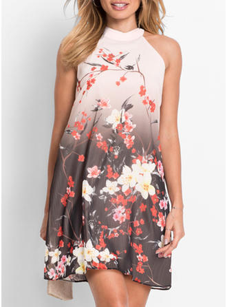 Bohemian Floral Round Neck Above Knee Shift Dress