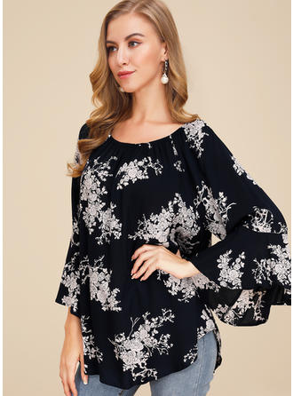 Print Floral Round Neck Flare Sleeve 3/4 Sleeves Casual Blouses