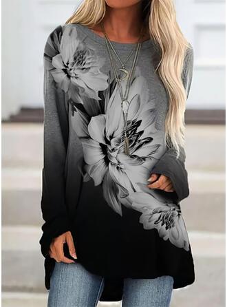 Print Blomster Gradient rund hals Lange ærmer Sweatshirts