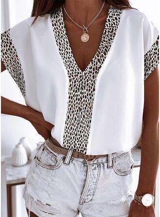 Leopard Druck V-Ausschnitt Kurze Ärmel T-Shirts