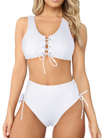 Solid Color Lace Up Strap Beautiful Attractive Cute Bikinis Swimsuits