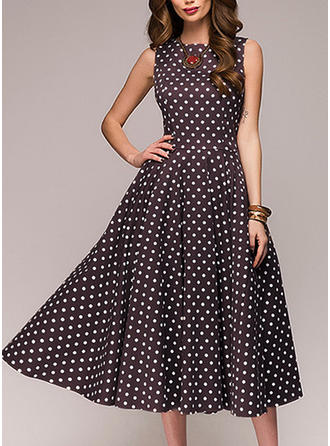 PolkaDot Sleeveless A-line Knee Length Vintage/Casual/Elegant Dresses