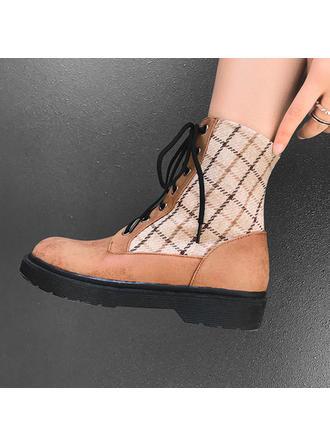 Dla kobiet Skóra ekologiczna Płaski Obcas Czólenka Kozaki Botki Martin Buty Z Sznurowanie obuwie