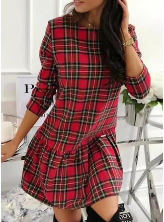 Plaid Lange Mouwen Shift Boven de knie Casual Jurken