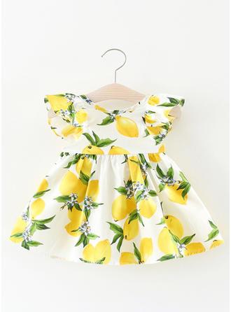 Meninas Neck redonda Impressão Pregueado Casual Bonito Vestido
