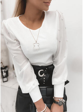 Solid Beaded Round Neck Puff Sleeves Long Sleeves Elegant Blouses
