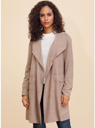 Polyester Long Sleeves Plain Blend Coats Wide-Waisted Coats