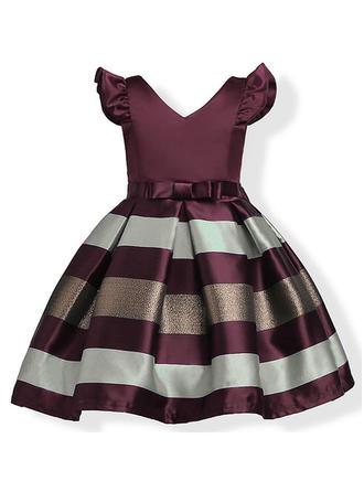 Dziewczyny Litera V Kokarda Nieformalny Ładny Sukienka