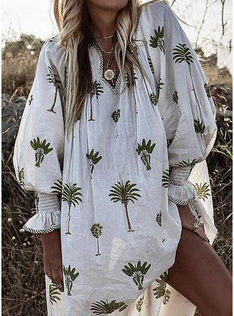 Imprimée Manches Longues Droite Longueur Genou Décontractée/Vacances Robes