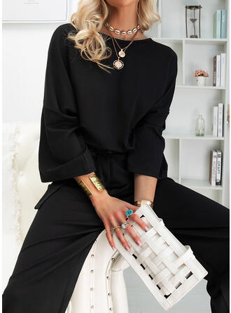 Solid Round Neck 3/4 Sleeves Casual Elegant Little Black Jumpsuit