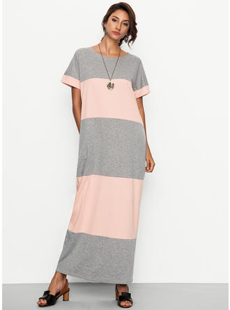 Color-block Round Neck Maxi Shift Dress