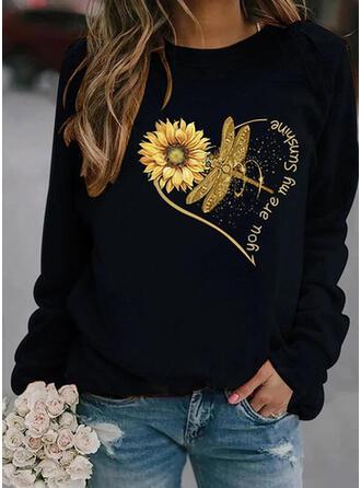 Dyr Sunflower Print Figur rund hals Lange ærmer Sweatshirts