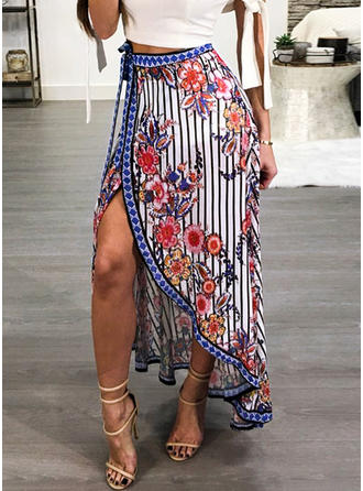 Polyester Floral Maxi Sexy Skirts