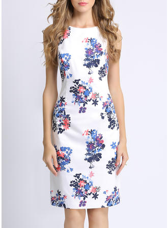 Print/Floral Sleeveless Sheath Knee Length Casual/Elegant Dresses