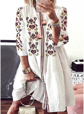 Print 3/4 Sleeves Shift Knee Length Casual/Vacation Dresses