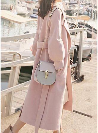 De lana Mangas 3/4 Color sólido Abrigos Cintura Ancha